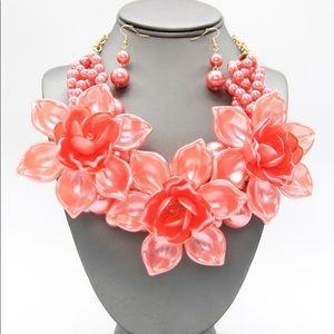 Peach Acrylic Flower Pearl Necklace Earrings Set